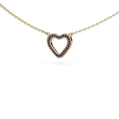 Foto van Hanger Heart 3 375 goud saffier 0.8 mm