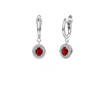 Drop earrings Nakita 950 platinum ruby 5x4 mm