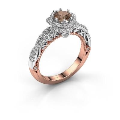 Foto van Verlovingsring Lysanne 585 rosé goud bruine diamant 0.95 crt
