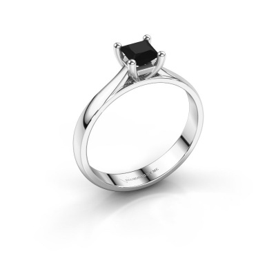 Verlobungsring Sam Square 950 Platin Schwarz Diamant 0.48 crt