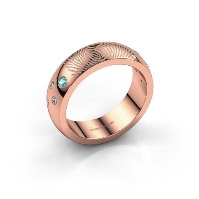 Foto van Ring Minke 375 rosé goud blauw topaas 2 mm