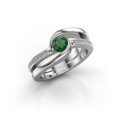 Foto van Ring Xenia 2 375 witgoud smaragd 5 mm