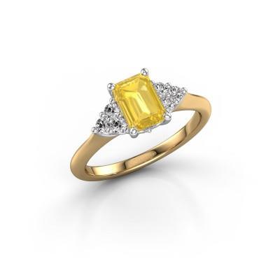Foto van Verlovingsring Felipa EME 585 goud gele saffier 7x5 mm
