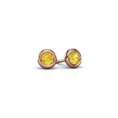 Foto van Oorstekers Lieke RND 375 rosé goud gele saffier 4 mm
