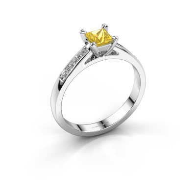Engagement ring Nynke SQR 585 white gold yellow sapphire 4 mm