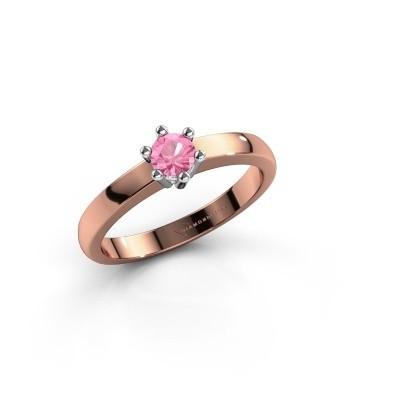 Verlovingsring Luna 1 585 rosé goud roze saffier 3.7 mm