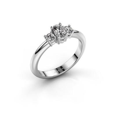 Foto van Aanzoeksring Karie 585 witgoud diamant 0.39 crt