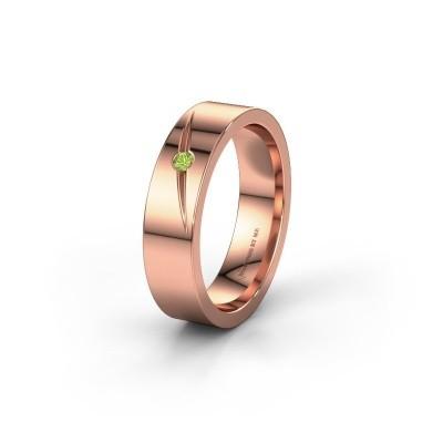 Trouwring WH0170L15A 585 rosé goud peridoot ±5x1.7 mm