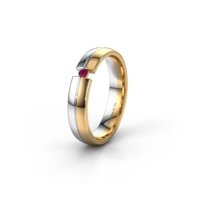 Wedding ring WH0254L24X 585 gold rhodolite ±0.16x0.06 in