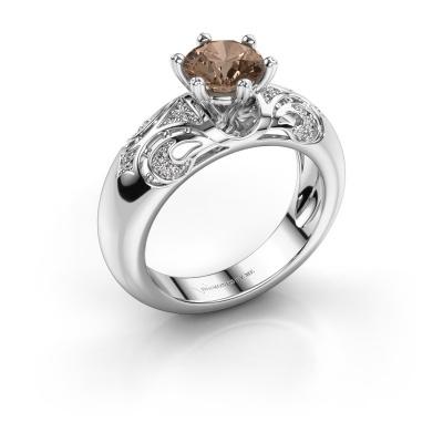 Ring Maya 585 witgoud bruine diamant 1.105 crt