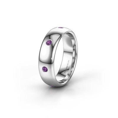 Wedding ring WH0105L36BP 925 silver amethyst ±0.24x0.08 in