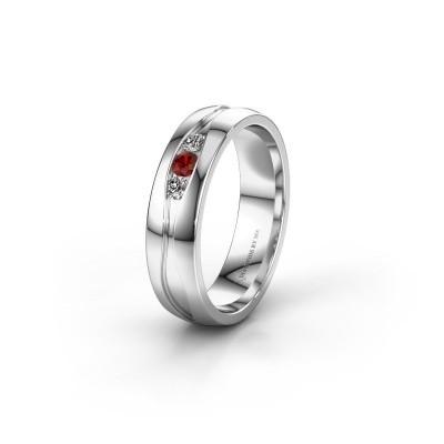 Wedding ring WH0172L25A 950 platinum garnet ±5x1.7 mm