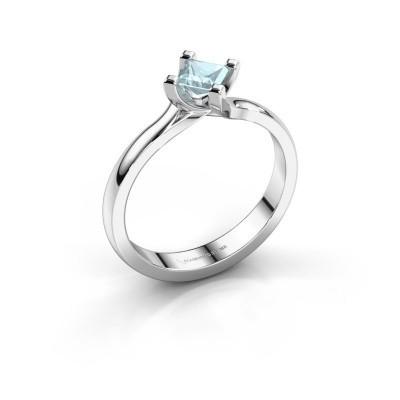 Foto van Verlovings ring Dewi Square 950 platina aquamarijn 4 mm