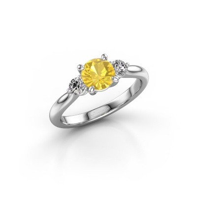 Picture of Engagement ring Lieselot RND 925 silver yellow sapphire 6.5 mm