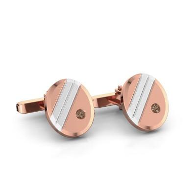 Foto van Manchetknopen Wesley 585 rosé goud bruine diamant 0.16 crt