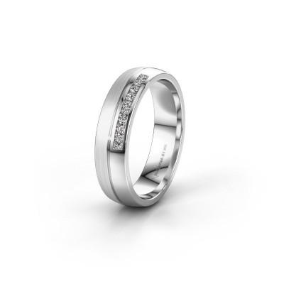 Wedding ring WH0209L25APM 950 platinum zirconia ±0.20x0.07 in