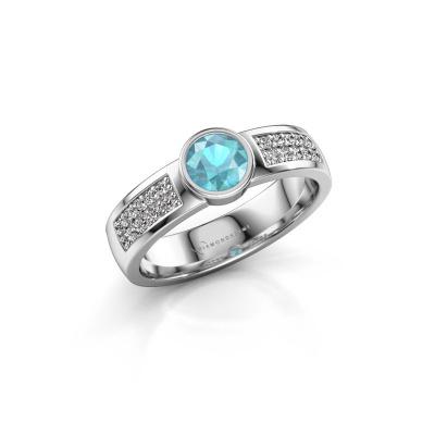 Engagement ring Ise 3 585 white gold blue topaz 4.7 mm