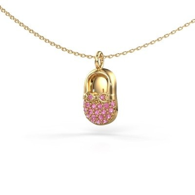 Hanger Babyshoe 585 goud roze saffier 1.3 mm