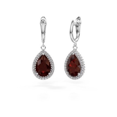 Picture of Drop earrings Hana 1 950 platinum garnet 12x8 mm