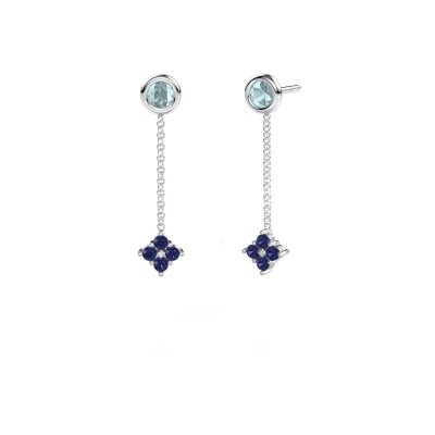Picture of Drop earrings Ardith 950 platinum sapphire 2 mm