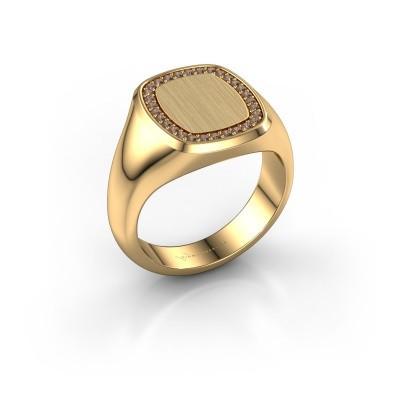 Heren ring Floris Cushion 3 375 goud bruine diamant 0.225 crt