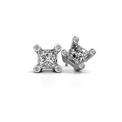 Picture of Stud earrings Cornelia Square 925 silver diamond 1.30 crt