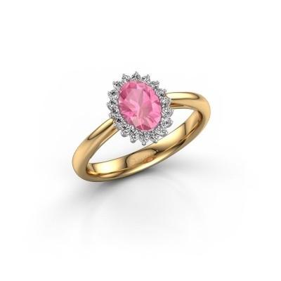 Foto van Verlovingsring Tilly 1 585 goud roze saffier 7x5 mm