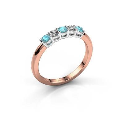 Foto van Promise ring Michelle 5 585 rosé goud blauw topaas 2.7 mm