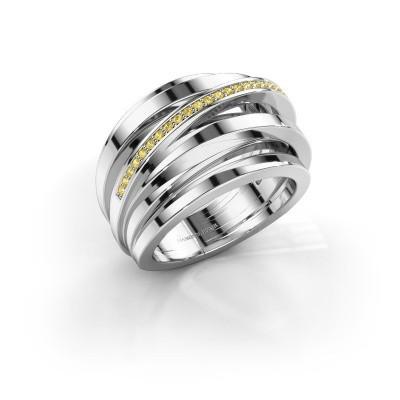 Ring Swinda 950 platina gele saffier 1 mm