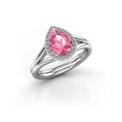 Foto van Verlovingsring Elenore 950 platina roze saffier 8x6 mm