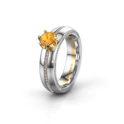 Weddings ring WH0416L25E 585 gold citrin ±0.20x0.1in