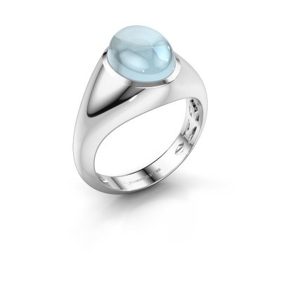 Ring Zaza 950 platina aquamarijn 10x8 mm