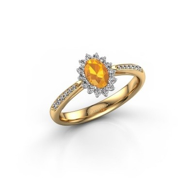 Engagement ring Tilly ovl 2 585 gold citrin 6x4 mm