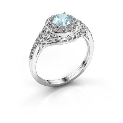 Ring Yurani 585 witgoud aquamarijn 6 mm