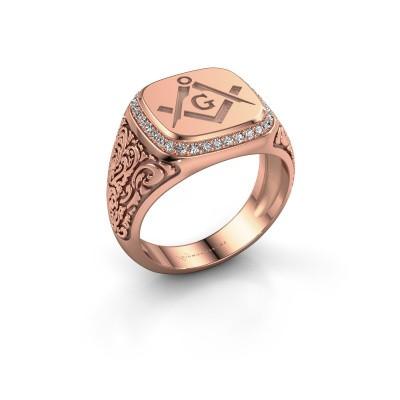 Men's ring Hugo 375 rose gold zirconia 1.2 mm