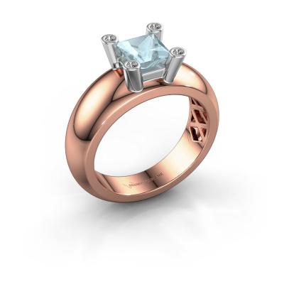 Ring Cornelia Square 585 rose gold aquamarine 5 mm