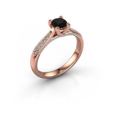 Verlovingsring Mia 3 375 rosé goud zwarte diamant 0.848 crt