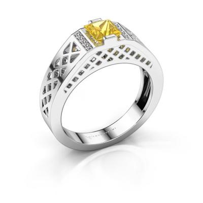 Herrenring Jonathan 585 Weißgold Gelb Saphir 5 mm
