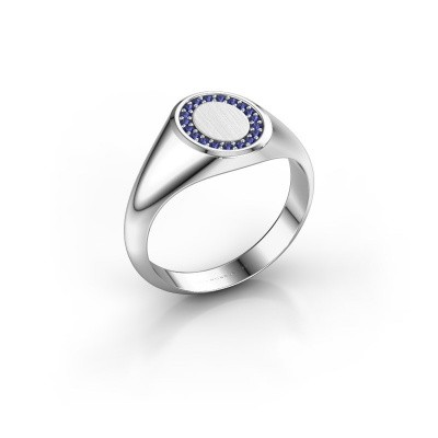 Pinky ring Floris Oval 1 375 white gold sapphire 1.2 mm