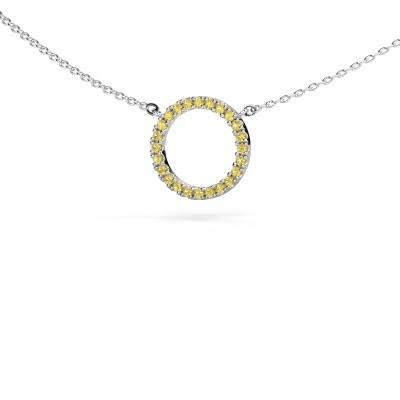 Foto van Hanger Circle 925 zilver gele saffier 1.2 mm