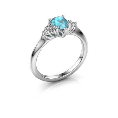 Verlovingsring Felipa per 950 platina blauw topaas 7x5 mm