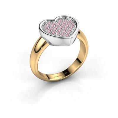 Ring Veerle 585 goud roze saffier 1 mm
