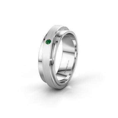 Foto van Huwelijksring WH2220L16D 585 witgoud smaragd ±6x2.2 mm