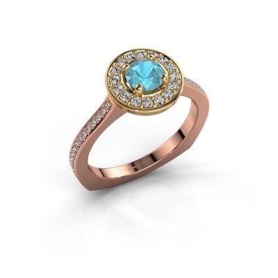 Foto van Ring Kanisha 2 585 rosé goud blauw topaas 5 mm