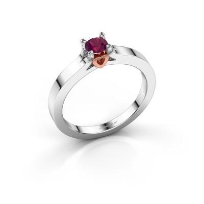 Foto van Belofte ring Eliz 585 witgoud rhodoliet 4.2 mm
