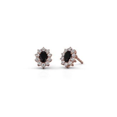 Oorbellen Leesa 375 rosé goud zwarte diamant 1.800 crt