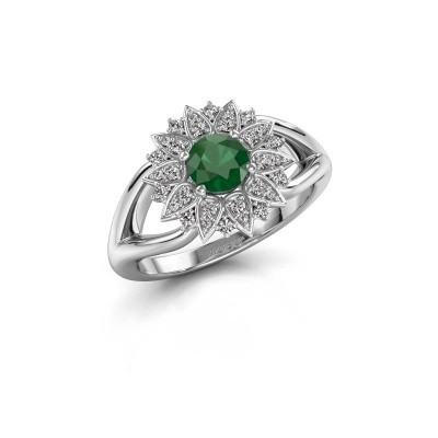 Foto van Verlovingsring Chasidy 1 585 witgoud smaragd 5 mm