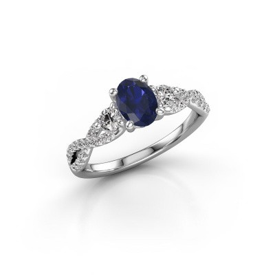 Picture of Engagement ring Marilou OVL 585 white gold sapphire 7x5 mm