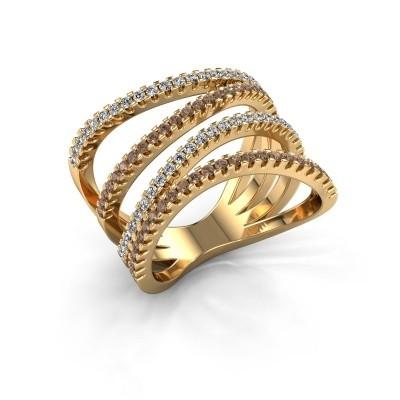 Bague Mitzi 375 or jaune diamant brun 0.735 crt