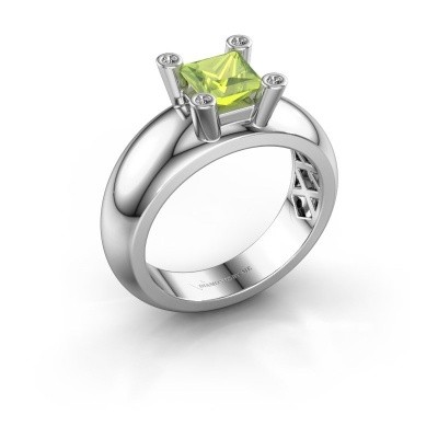 Ring Cornelia Square 925 Silber Peridot 5 mm